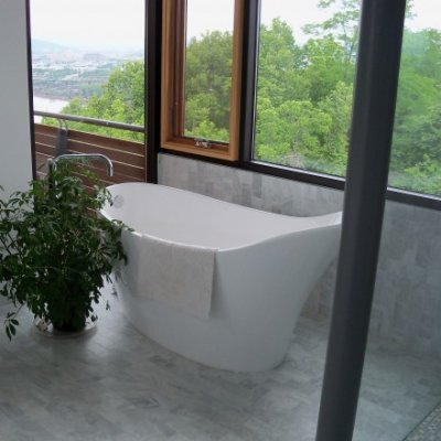 Marble Tile Shower Bath